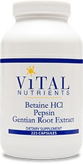 Betaine HCl w/ Pepsin & Gentain, 225 capsules